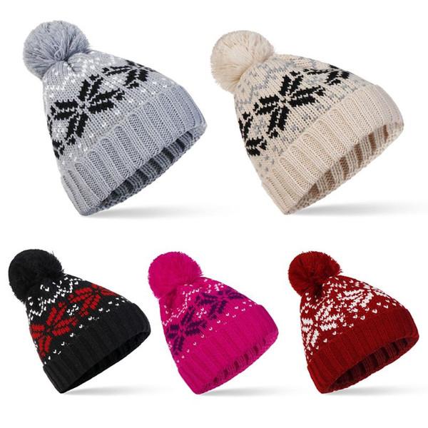 110f891c799086 Woolen Hat Winter Warm Head Cap Knitted Floral Fashion Autumn Spring Girls  Women Hats Bonnet Beanie