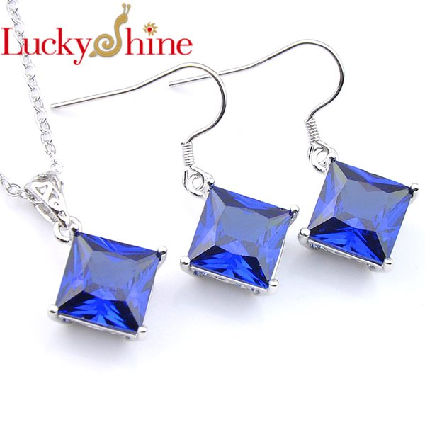 Luckyshine Elegant Blue Zircon Square Crystal Cubic Zirconia 925 Silver Pendants Necklaces Drop Earrings Wedding Luxury Jewelr