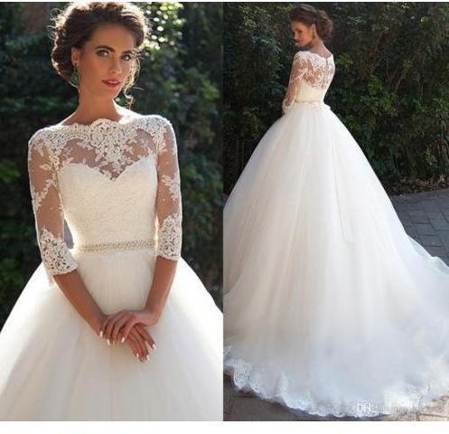 Vestido de novia elegante de la boda vestido de cola 3/4 de manga larga de encaje apliques Bateau cuello por encargo de la boda larga de los vestidos de las perlas de la correa barato