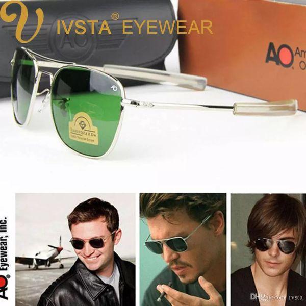 AO Pilot Sunglasses Men American Army Military Brand Driving Sun Glasses For Male Glass Lenses Aviation with Original Box