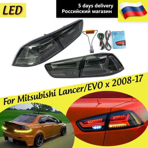 1 Pair Rear LED Tail Brake Light Lamps for Mitsubishi Lancer EVO x 2008-2017 Tail Light Signal LED DRL Stop Rear Car Accessories