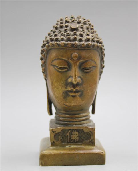 Çin Koleksiyon Pirinç İşi oyma Heykeli: Buda baş
