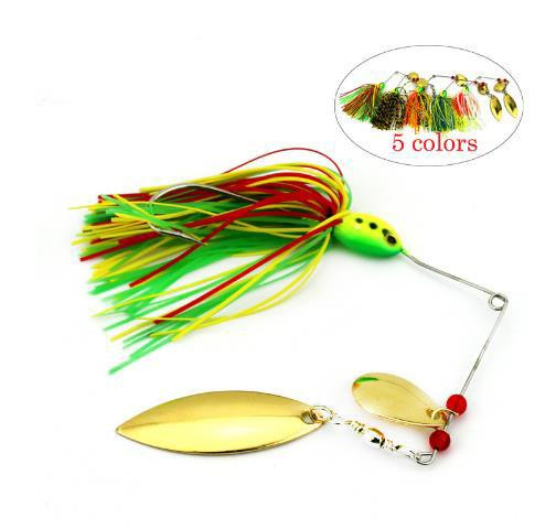 16.3g Spinnerbaits Beard Soft Lure Rotating Sequins Lead Head Fluff Fishing Lures Pike Buzzbaits 5 Colors isca pesca Fishing Tackles