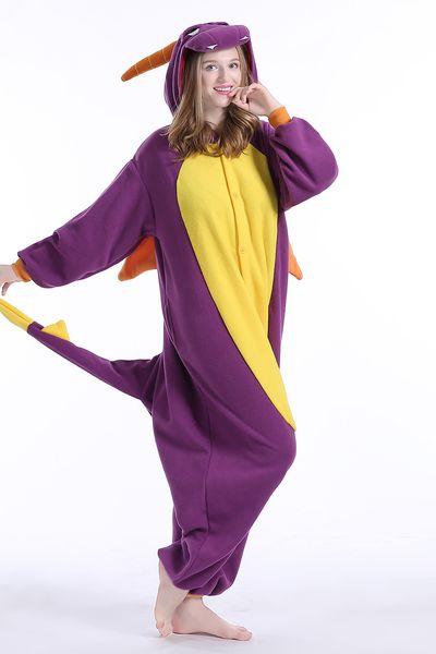 Adulto Spyro Kigurumi Onesies Pijamas Flanela De Alta Qualidade Dragão Roxo Trajes Macacões Pijama Pijamas