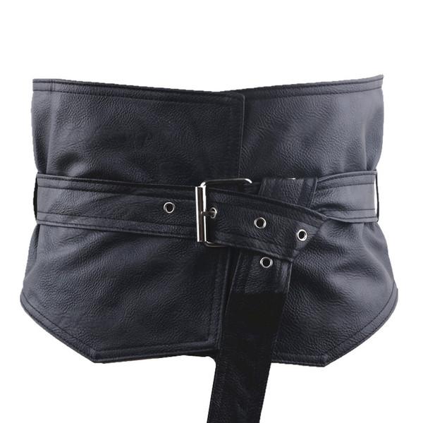 Adjustable Retro Lady's Slim Faux Leather Cummerbunds Body Waist Shape Corset Wide Elastic Belt Stretch Waistband
