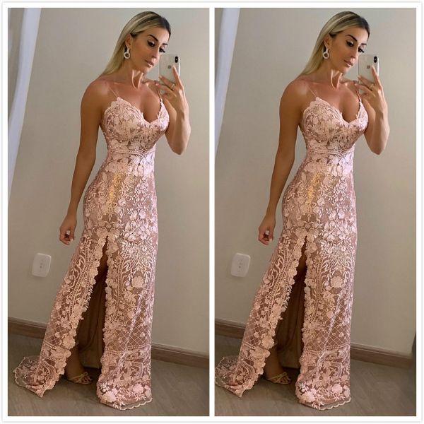 2019 Aso Ebi Árabe Sexy Vintage Lace Vestidos alta Dividir Spaghetti Prom Dresses Bainha formal do partido Segundo Recepção Vestidos Vestido