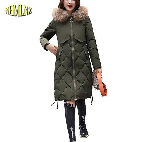 Mujeres chaqueta de algodón 2019 invierno nuevo delgado medio largo hembras Parkas con capucha cuello de piel abrigo más grueso caliente prendas de vestir exteriores coreano TU79