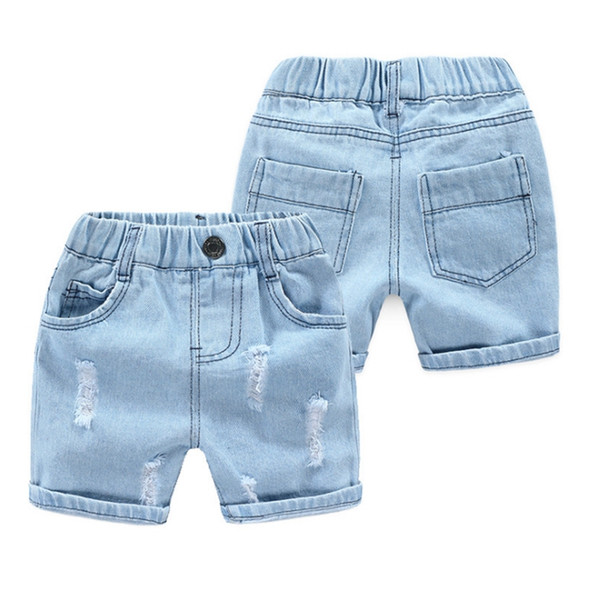Kids Jeans Shorts Baby Boys Holes Short Pants Light Blue Denim Shorts Casual Children Beach Pants Summer Kids Clothing Free Shipping YW3317