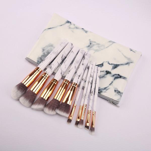 3colors Marble Makeup Brushes Blush Powder Eyebrow Eyeliner Highlight Concealer Contour Foundation Make Up Brush Set With PU Bag 3set