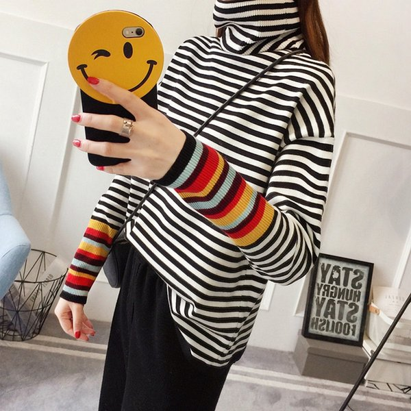 Womens Striped Sweaters 2019 Winter Tops Turtleneck Sweater Office Lady Pullovers Stripe Black White Light Khaki