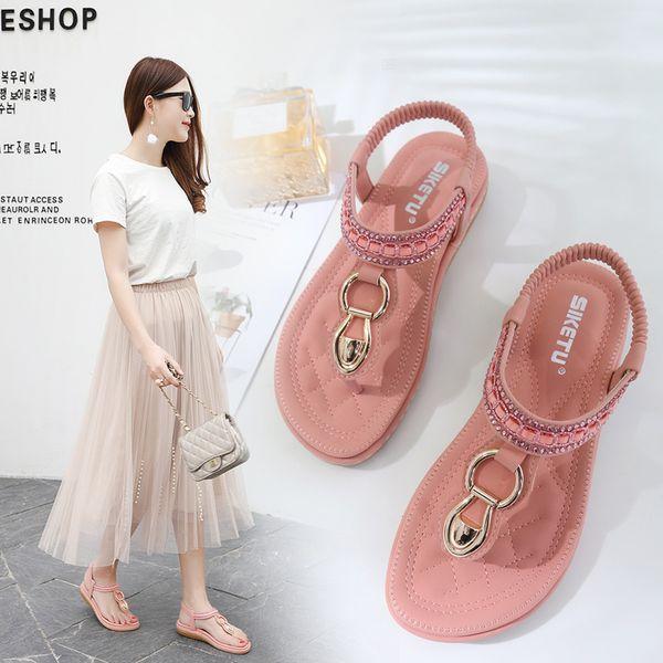 GOXPACER 2019 Kore Stil kadın Sandalet Yaz Yeni Bohem Su Matkap Balıksırtı Tutam Düz tabanlı Sandalet Ücretsiz Kargo
