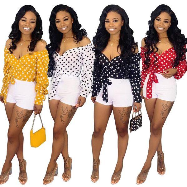 2019 новых женщин с принтом точка блузка с плеча V-образным вырезом с длинным рукавом связать блузку и рубашки пляж сексуальный топ 4 цвет
