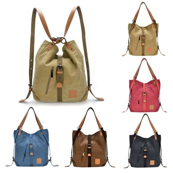 Multifunctional Womens Canvas Leather Handbag Shoulder Bag Girls School Fashion Casual Travel Backpack Rucksack Crossbody Bags Satchel