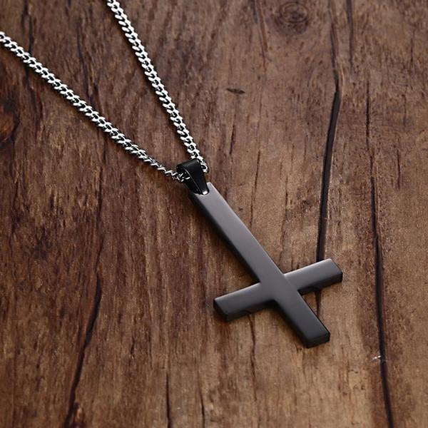 Vnox Male Black St Peter's Inverted Cross Pendant Necklace for Men Stainless Steel Choker Crux de Sanctus Petrus Jewelry