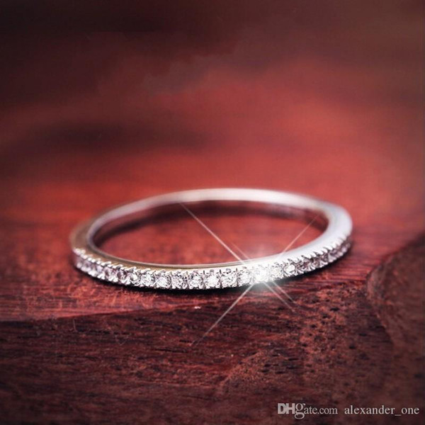 New Fashion Hot Sale Genuine 925 Sterling silver CZ Stone Ring Fine Jewelry Simple Round Thin Ring for Women Element Ring Girl gift SIZE 4-9