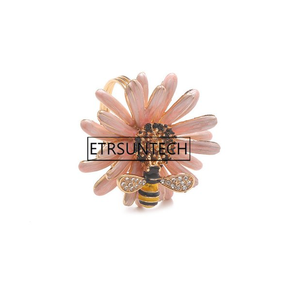 100pcs Creative Bee Flower Napkin Buckle Western Zinc Alloy Napkin Ring Hotel Restaurant Wedding Party Napkin Holder