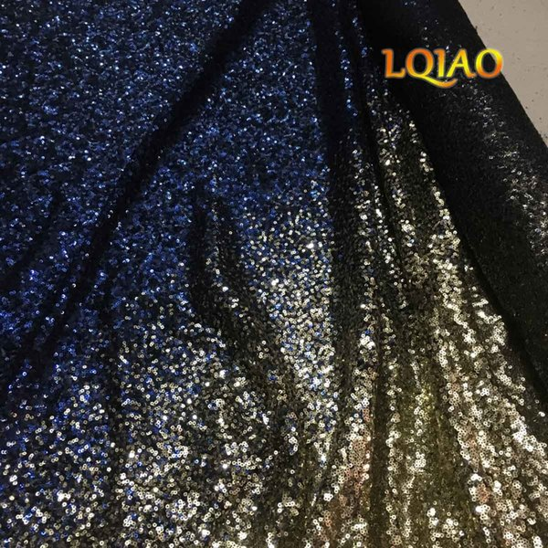1 yarda de color degradado luz dorado-plata tela de lentejuelas tramo spandex bordado malla de encaje africano tela de lentejuelas para vestidos de bricolaje