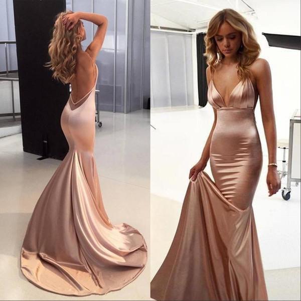 Elegante Sexy Rose Gold Prom Party Dresses 2019 Espaguete Backless Sweep Train Backless Simples Sereia Ocasião Red Carpet Evening Vestidos