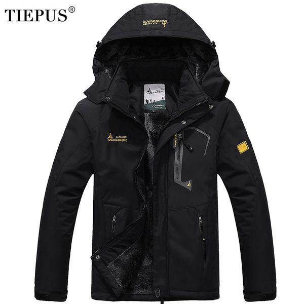 TIEPUS зимняя куртка мужская плюс шерсть тепловая куртка водонепроницаемый ветрозащитный мужская с капюшоном верхняя одежда Мужская вниз куртка размер L-5XL 6XL