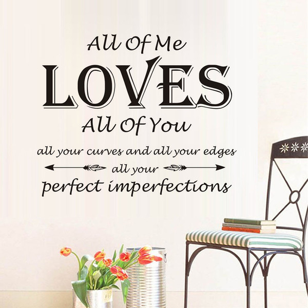 1 Pcs All Of Me Loves All Of You Wall Stickers For Kids Rooms Children Calligraphy Art Quotes Diy Wall Sticker Bedroom Home Decor