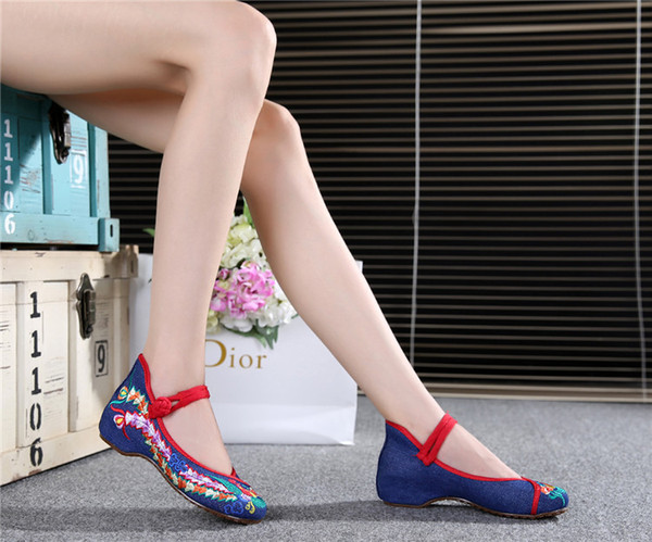2019+Fashion Women Shoes Old Beijing Mary Jane Flats Casual Shoes Chinese Style Embroidered Cloth shoes woman