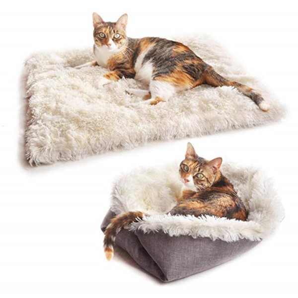 top popular 2 in 1 Foldable Pet Soft Plush Puppy kennel Bed Pet Dogs House Nest Dog Blanket Cover Cat Warm Sleeping Bed Mat Sofa Cushion 2020