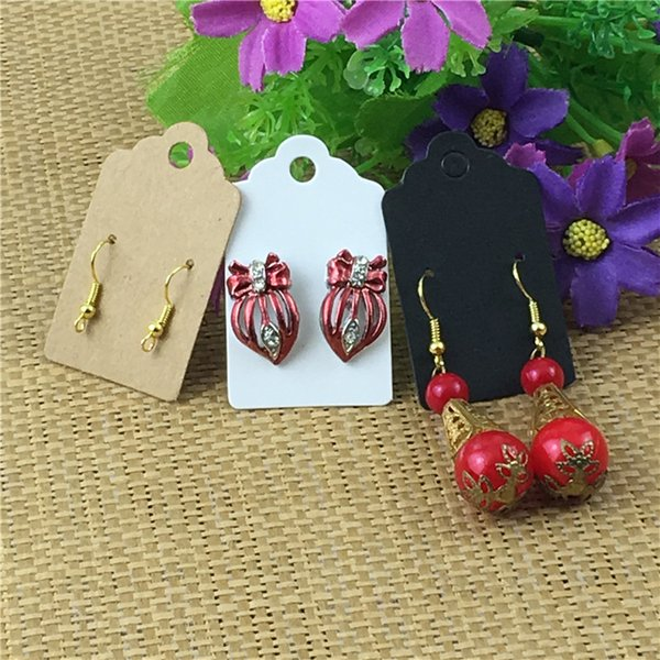 Kraft Paper Three Colors Earring Cards Ear Stud Jewelry Display Packing Hang Tag Accessories Card Labels 5x3cm 400Pcs/Lot