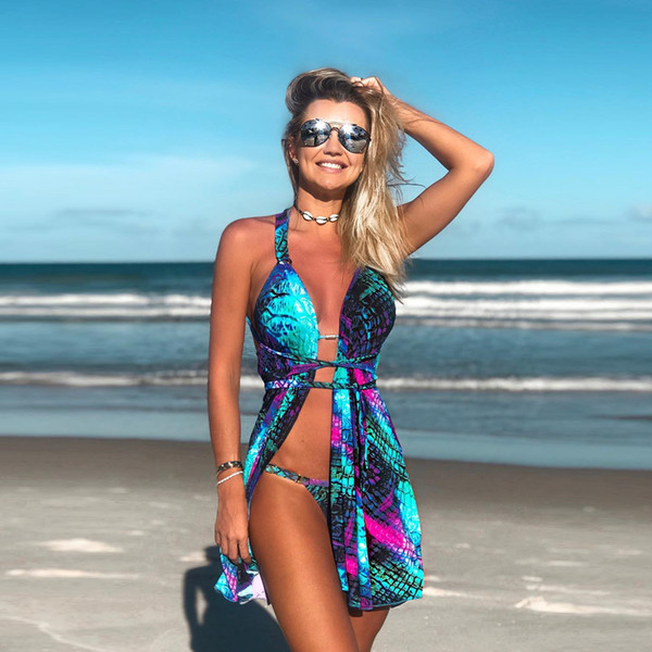 Blue gradient fish scale hanging neck strap mermaid print mini dress bikini three-piece set beach wind sexy suit crop top women