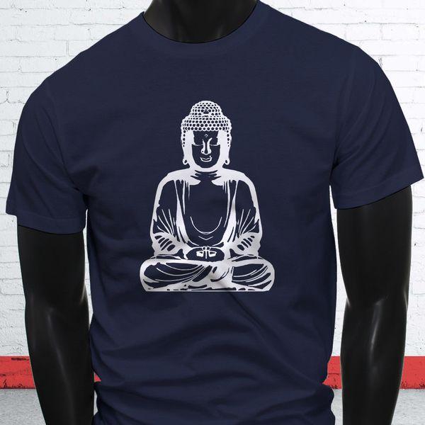 Priez Gautama Figure Sage Bouddhisme Blanc Bouddha Priant T-shirt Homme Bleu Marine T-shirts Personnalisé T-shirt Jersey T-shirt À Capuche T-shirt Hip Hop