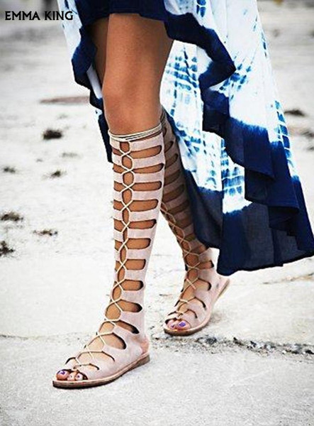 2019Sexy Cut-outs Flat Knee High Boots Women Lace-up Peep Toe Gladiator Sandals Boots Slingback Ladies Shoes New Sandalias Mujer