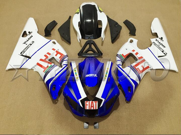 4Gifts New ABS Molding motorcycle plastic Fairings Kits Fit For YAMAHA YZF-R1-1000 1998-1999 98 99 Fairing bodywork set Custom blue white