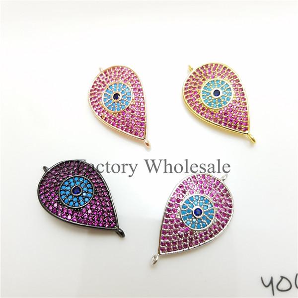 10pcs / lot CALDO! All'ingrosso 15 * 25mm micro pavimenta cz forma Pear blu occhio Charms ciondolo braccialetto per le donne monili che fanno accessori