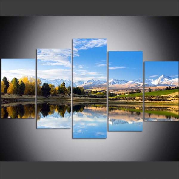 5 Piece Large Size Canvas Wall Art Pictures Creative New Zealand Hatton Hill Secret Lake Art Print Oil Painting for Living Room