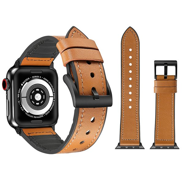 Smart Straps For Apple Wrist Watch Series 4 38mm 42mm 40mm 44mm iWatch Band Luxury Skinned TPU Leather Strap Bracelet Replacement Watchband
