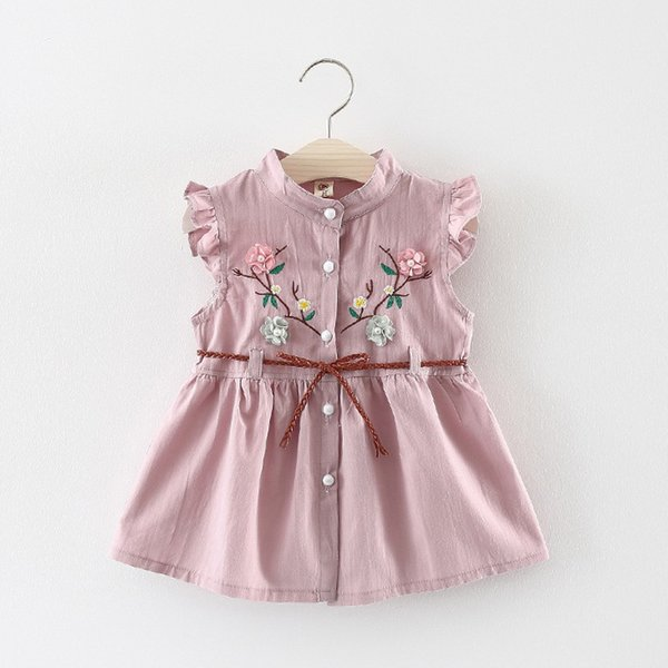 Korean style Toddler Dresses Fashion Baby Girls Flowers Lace-Up Party sleeveless Princess Dresses Clothes kiz bebek elbise