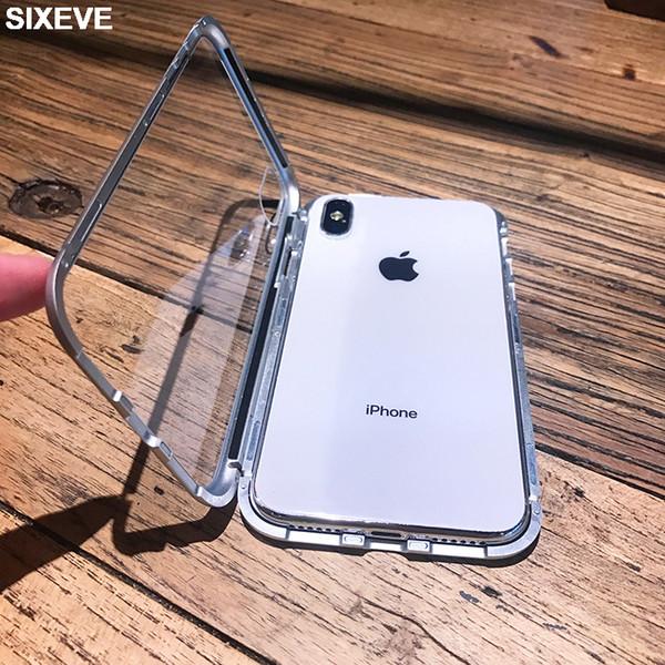 Lüks Dahili Manyetik Temizle Kılıf iphone 6 s 6 S 7 7 S iPhone 8 Artı X 10 5 5 S 5SE XR XS Max 6 Artı 6 Artı 7 Artı 8 Artı Kapak