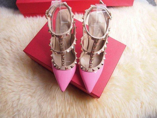 Designer Frauen High Heels Party Mode Nieten Mädchen sexy spitze Schuhe Tanzschuhe Hochzeitsschuhe Doppel Riemen Sandalen 5sfs