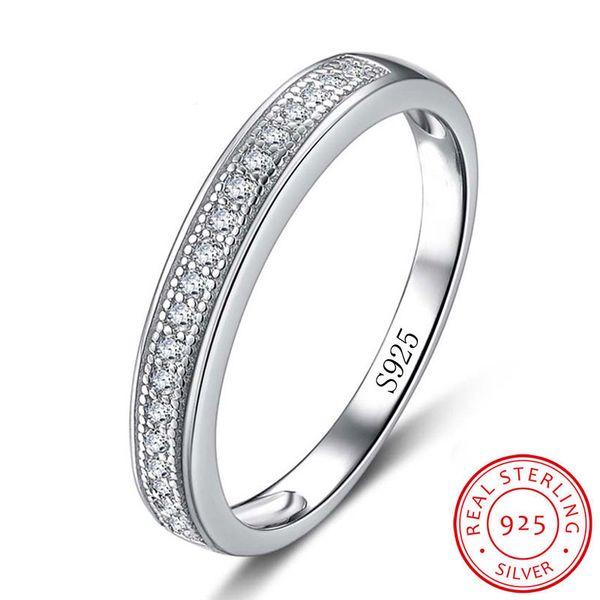 Lujo real 100% 925 anillos de plata esterlina para mujeres medio círculo circón CZ anillo de compromiso de diamantes joyería fina regalo XR012