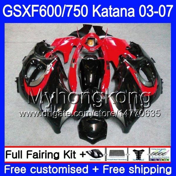 GSXF-600 For SUZUKI KATANA GSXF 750 600 GSXF600 glossy black red 03 04 05 06 07 293HM.44 GSX 750F GSXF750 2003 2004 2005 2006 2007 Fairing
