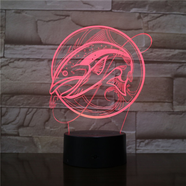 Big Fish Fishing 3D Optical LED Lamp Illusion Light Panel Gift Decoration Battery Bin DC 5V USB Powered Factory Wholesale