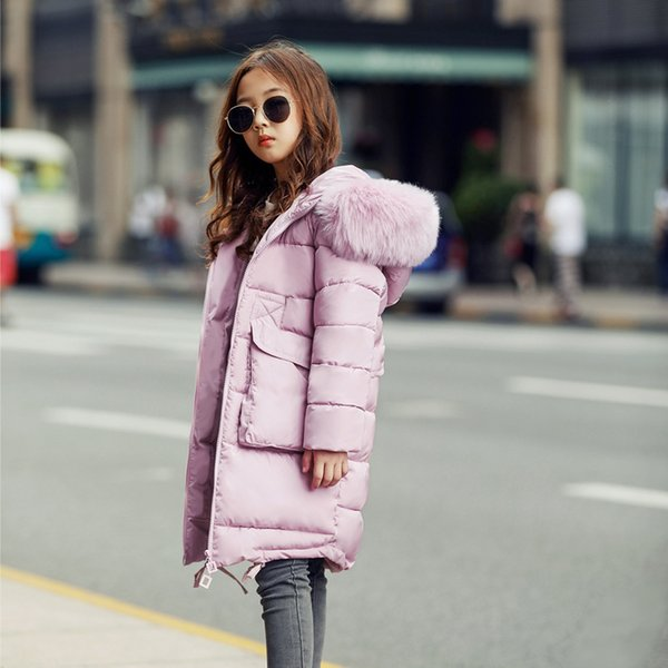 New 2018 Fashion Children Winter Jacket Girl Winter Coat Kids Warm Thick Fur Collar Hooded long down Coats For Teenage 4Y-14Y