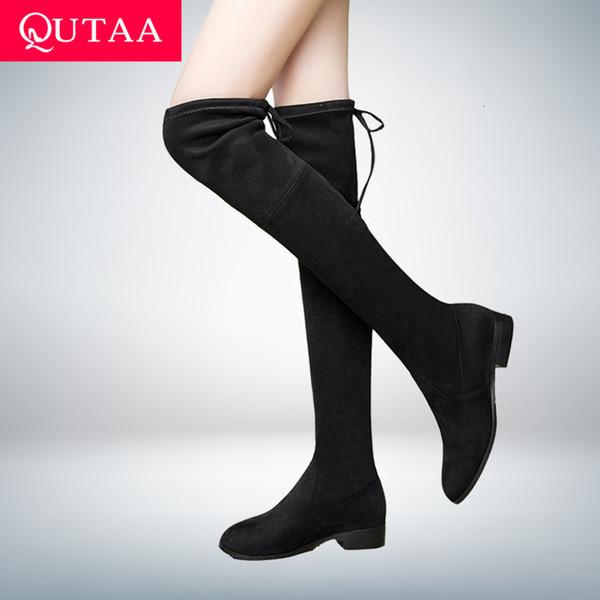 QUTAA 2020 Bayan Ayakkabıları Kare Düşük Topuk Kadınlar Üzeri Diz Boots Scrub Siyah Sivri Burun Kadın Motosiklet Boots Boyut 34-43 CJ191130