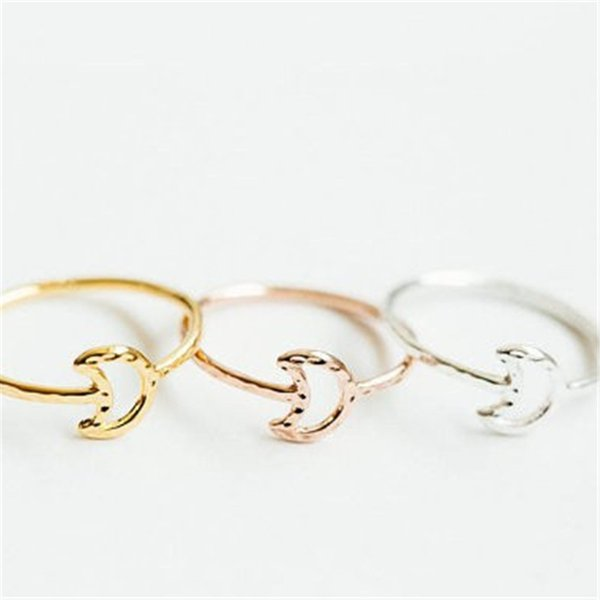 Moda luna crescente articolazione anelli anelli per il colore delle donne