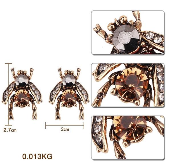Gros-mode design de luxe exagéré les boucles d'oreille des animaux d'abeille de cristal belle mignon pour femme
