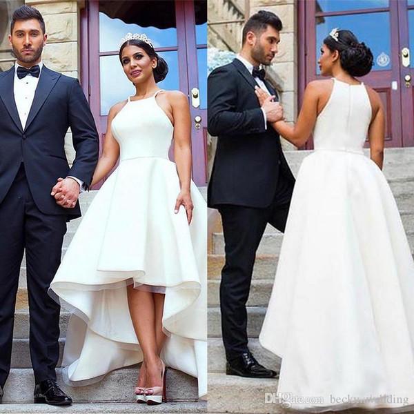 2018 Barato Amostra Alta Baixa Vestidos de Casamento Vestidos Sexy Plus Size Halter Pescoço Curto Frente Longo Voltar País de Verão Vestidos De Casamento para Noivas