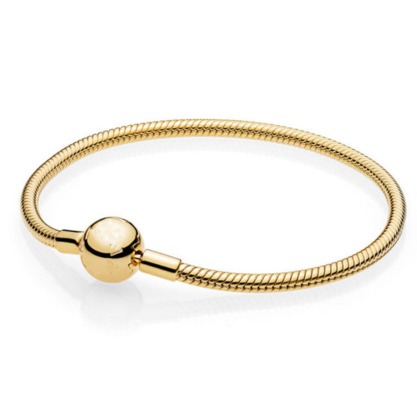 925 Sterling Silver Pan Bracelet Gold Color Moments Smooth Ball Clasp Snake Chain Bangle Fit Bead Charm Diy Europe Jewelry