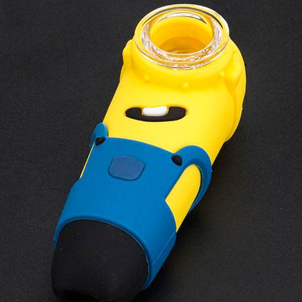4.5 Inç Silikon Minion Kaşık Boru Silikon Tütün Renkli Cam Fıskiye Borusu Için Sigara Boru