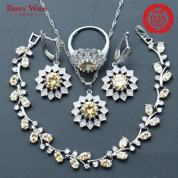 Champagne Zircon Bridal 925 Sterling Silver Jewelry Sets Earrings For Women Wedding Jewelry Necklaces & Pendants Rings Bracelet