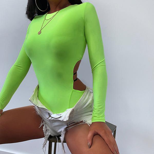 Neon Green Sexy One Piece Bodysuit Women Fluorescent High Cut Long Sleeve Thong Bodysuits Streetwear solid Fluorescence playsuit