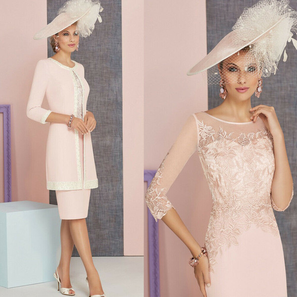 Light Pink Chic Mother Of The Bride Dresses With Jacket 3/4 Long Sleeves Prom Dress Knee Length Formal Wedding Guest Gowns Cheap